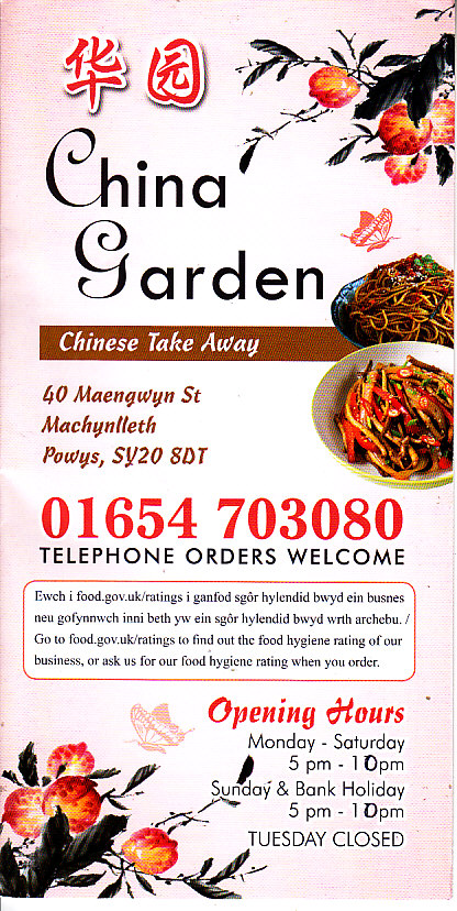China Garden Chinese Takeaway In Machynleth